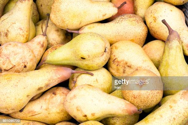 Full frame texture, Heap of ripe sweet pears