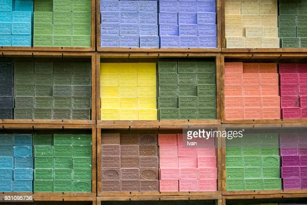 Full frame texture, High Angle View Of Stacked Colorful Soaps
