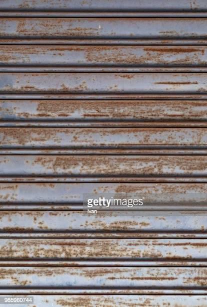 Full Frame texture, Rusty Iron Shutter Textured Roll-Up Door