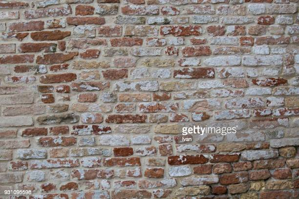 full frame texture, the facade view of the old brick wall for design background. - whitewashed stock photos and pictures