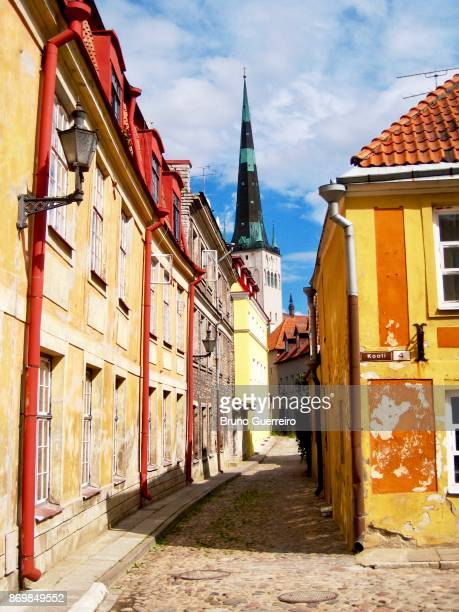 Full frame view colourful buildings in Tallinn's old town