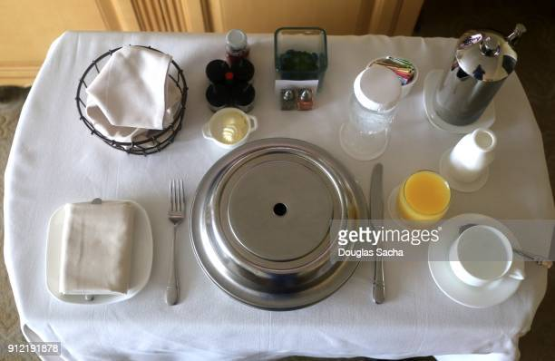 Full frame view of a room service food delivery cart