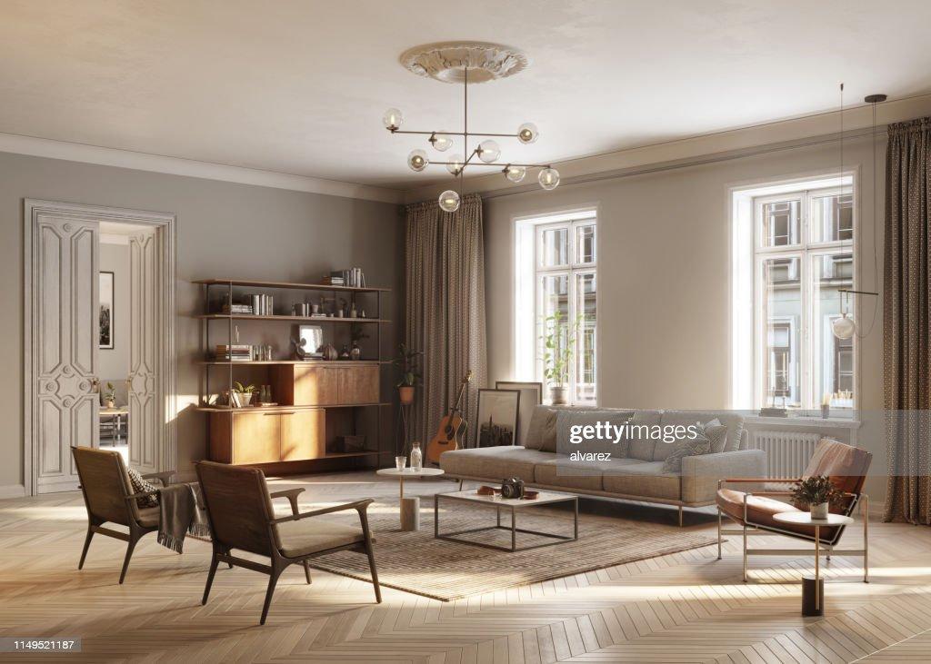 Vollmöbliertes Wohnzimmer : Stock-Foto