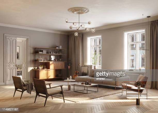 full furnished living room - wooden floor stock pictures, royalty-free photos & images
