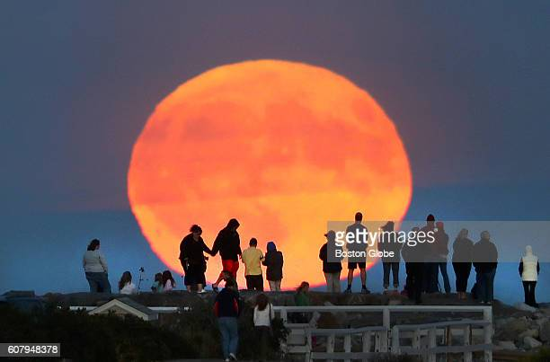 A full harvest moon rises near the Scituate Lighthouse in Scituate Mass on Sept 16 as a crowd stood on the breakwater next to it to watch it rise