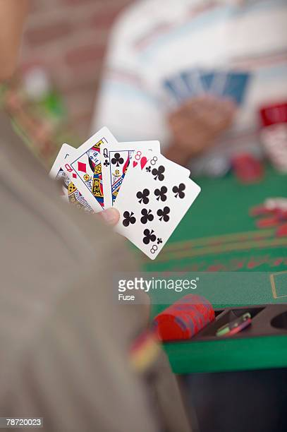full house - hand of cards stock photos and pictures