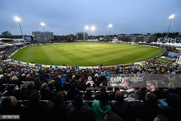 A full house turns up for the NatWest T20 Blast between Sussex and Surrey at the 1st Central County Ground on June 3 2016 in Hove England