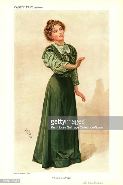 Full length chromolithograph Illustrating Christabel Pankhurst daughter of militant English suffragist Mrs Emmeline Pankhurst wearing a green...