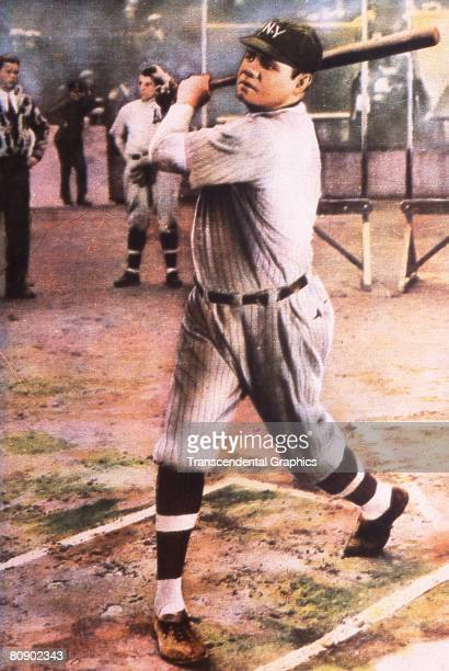 Full length color lithograph of Babe Ruth swinging a bat at the batter's box