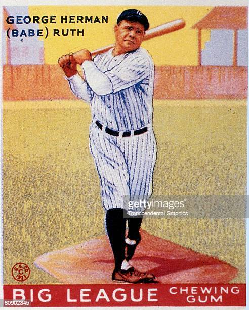 Full length color lithograph portrait of George Heramn Babe Ruth swinging a bat The image is from a trading card published by the Goudey Gum Company...