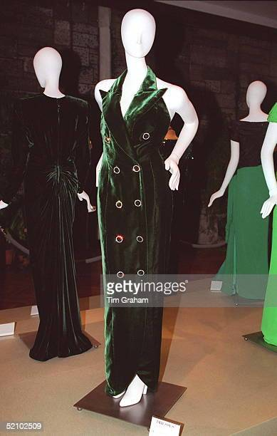 Full Length Evening Dress Of Bottle Green Velvet Designed By Fashion Designer Catherine Walker. Lot No. 31.
