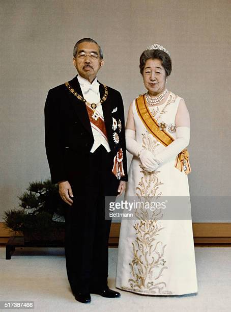 A full length formal portrait of Emperor Hirohito and Empress Nagako of Japan