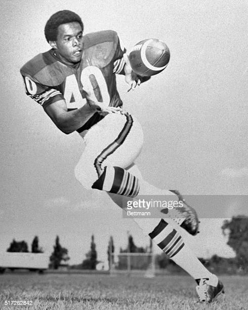 Full length Gayle Sayers football player for Chicago bears shown here catching the ball