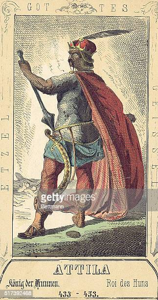 Full length illustration of Attila King of the Huns also known as the Scourge of God Undated color illustration