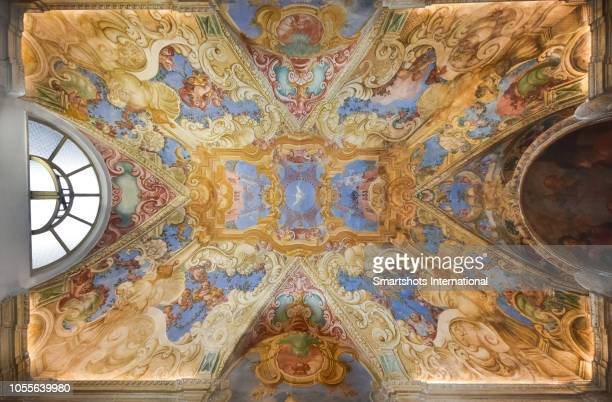 """full length image of decorated ceiling of """"casa santa"""" or """"oratorio of st francis de sales"""" in erice, sicily, italy - religious saint stock pictures, royalty-free photos & images"""