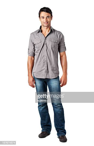 Full length of a guy standing against white background