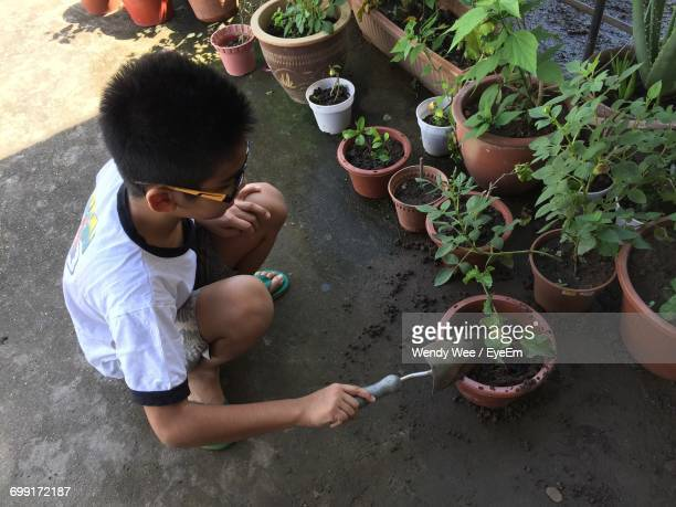 Full Length Of Boy Gardening At Yard