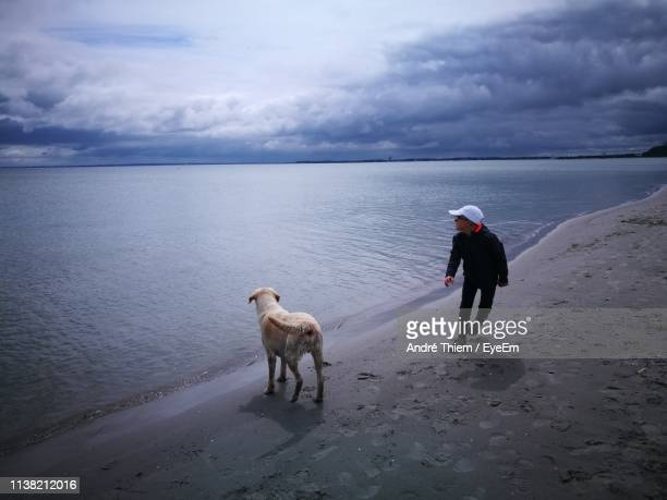 full length of boy with dog on shore at beach against cloudy sky - thiem stock pictures, royalty-free photos & images