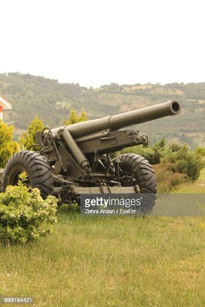 full length of cannon on grassy field - cannon stock pictures, royalty-free photos & images