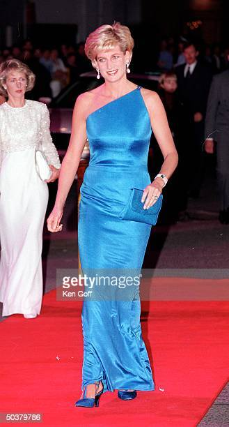 Full length of England's Princess Diana in long blue one-shouldered gown at Gala evening on the first night of her visit to Australia.