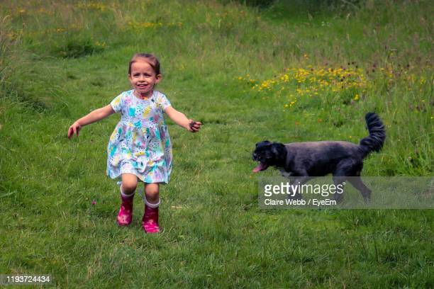 full length of girl with dog on grass at park - ascot stock pictures, royalty-free photos & images