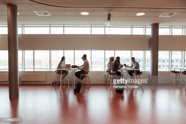 full length of high school students studying at desks by window in cafeteria - computer equipment stock pictures, royalty-free photos & images