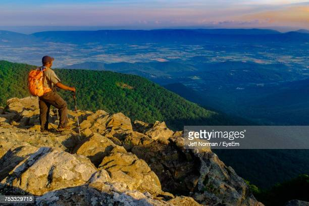 Full Length Of Hiker Standing On Mountain At Shenandoah National Park
