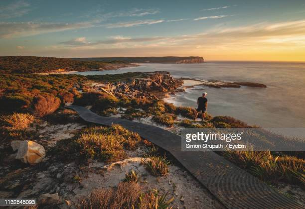 full length of man standing on cliff during sunset - new south wales stock pictures, royalty-free photos & images