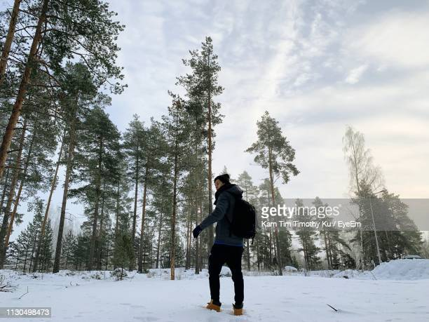 full length of man standing on snow covered land - vanda stock pictures, royalty-free photos & images