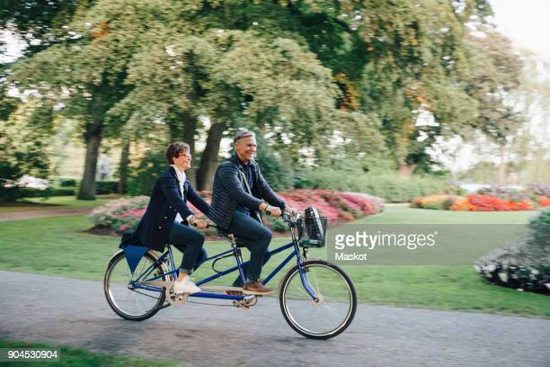full length of senior couple enjoying tandem bike ride in park - tandem bicycle stock pictures, royalty-free photos & images
