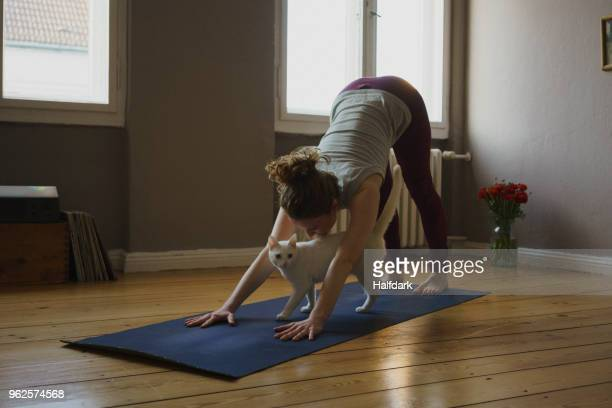 Full length of woman practicing downward facing dog position with cat on exercise mat at home