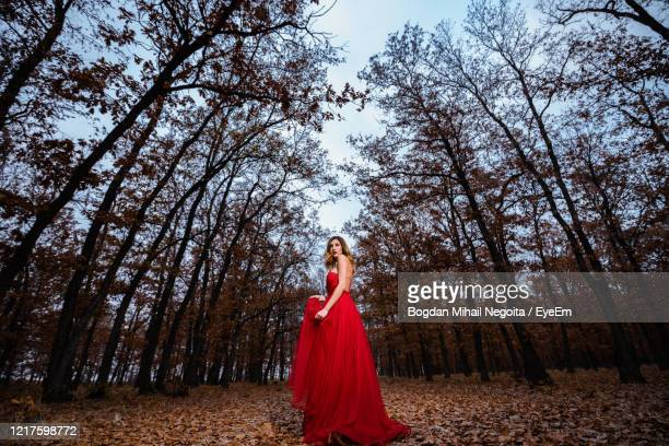 full length of woman standing in forest - 赤のドレス ストックフォトと画像