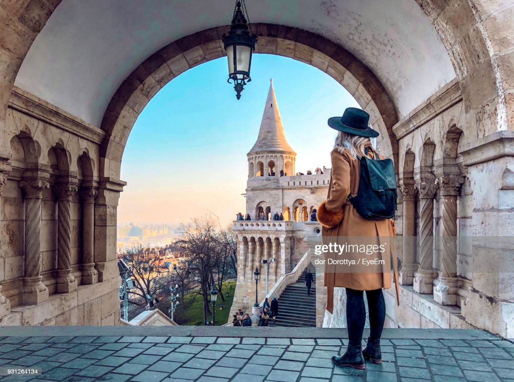 Full Length Of Woman Standing In Historic Building : Stock Photo