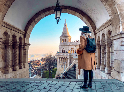 Full Length Of Woman Standing In Historic Building - gettyimageskorea