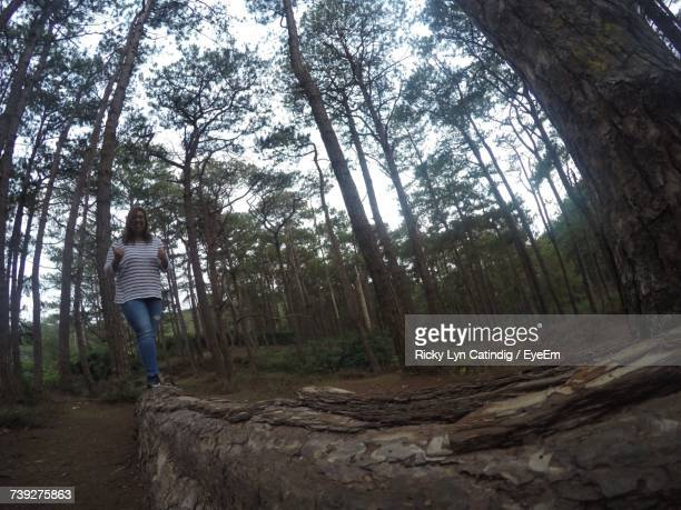 Full Length Of Woman Walking On Fallen Tree Trunk At Forest
