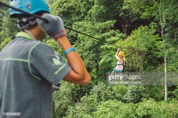 full length of woman zip lining in forest - bortes stock pictures, royalty-free photos & images