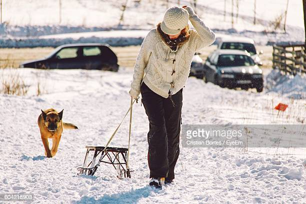 full length of young woman pulling snow sled during winter - bortes foto e immagini stock