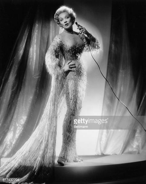 Full length photograph of actress and cabaret singer Marlene Dietrich Undated photograph