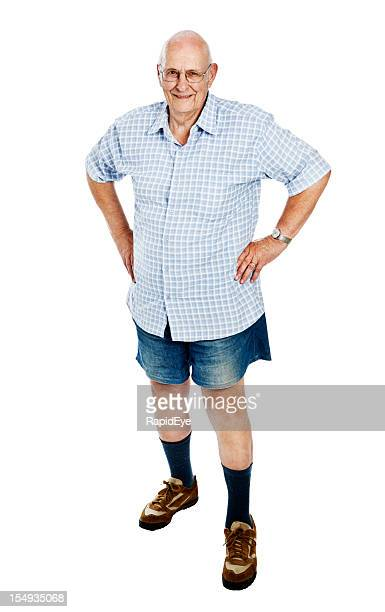 full length portrait of 85 year old man in shorts - red fox stock photos and pictures