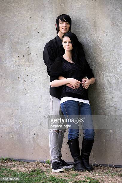 full length portrait of a young couple - emo stock photos and pictures