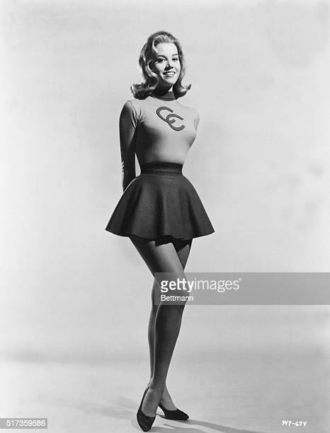 Full length portrait of actress Jane Fonda in a cheerleadingtype outfit Ca 19601970