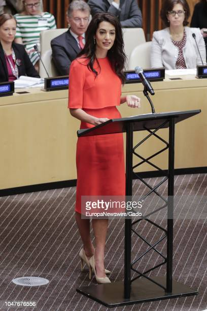 Full length portrait of Amal Clooney During an Event on Press Behind Bars: Undermining Justice and Democracy at the United Nations headquarters in...