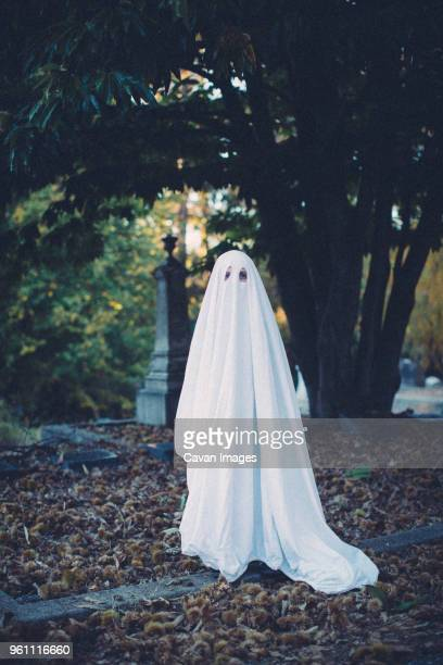 Full length portrait of boy wearing ghost costume while standing on field at cemetery during Halloween