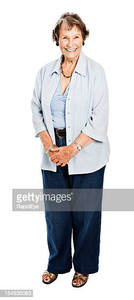 Full length portrait of happy 83 year old woman