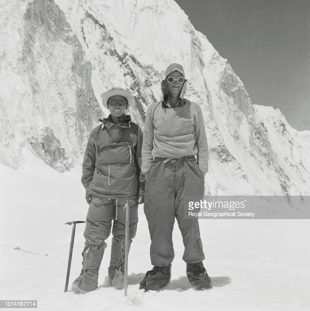 Full length portrait of Hillary and Tenzing Nepal March 1953 Mount Everest Expedition 1953