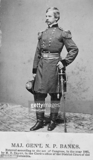 Full length portrait of Major General Nathaniel P Banks in full uniform facing left 1861 By Mathew Brady