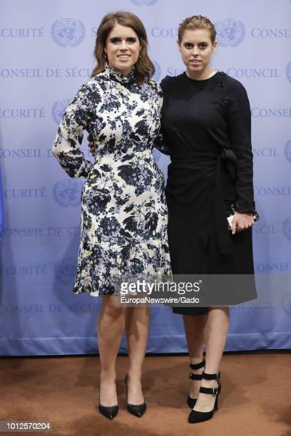 Full length portrait of Princess Eugenie and her Sister Princess Beatrice of York at the United Nations in New York City New York July 26 2018