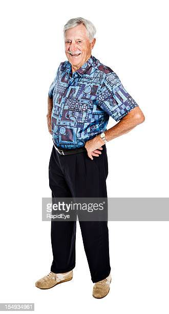 Full length portrait of smiling 86 year old man