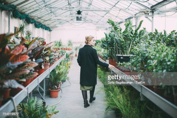 Full Length Portrait Of Woman Standing In Greenhouse