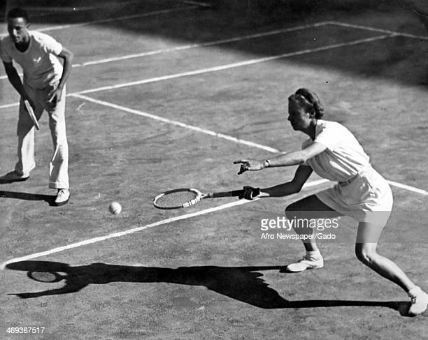 A full length portrait of world class tennis player Alice Marble playing a match at the American Tennis Association meet in New York City New York...